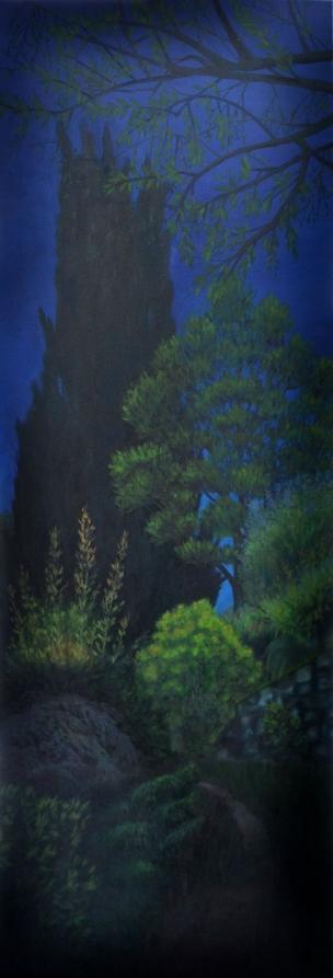 Chemin, huile sur châssis toilé,50x120 cm