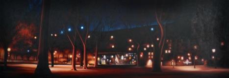 Vie nocturne, huile sur châssis toilé, 45x120 cm