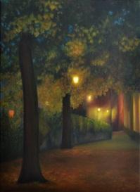 Perspective automnale, huile, 45x33 cm