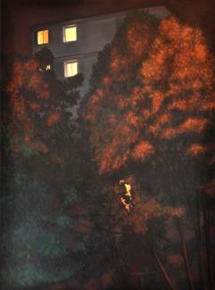 Fenêtres feuillues, huile sur châssis toilé, 50x70 cm, 2015