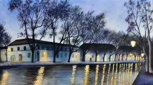 Canal d'Annecy, encres, 35x23 cm