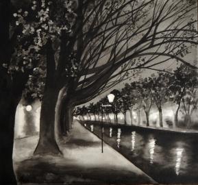 Lumières du canal, encre de Chine, 23x20 cm