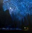 Lune à annecy, huile, 80x80 cm