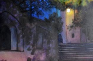 Escaliers de Chalemont, encres, 22x25 cm